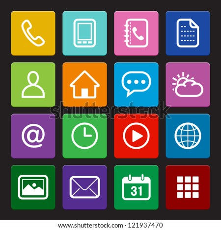 Mobile Phone Icons: Colorful Style