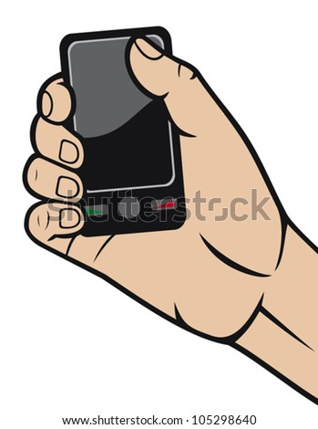 mobile phone in hand (hand holding smart phone, hand with a telephone, modern smart phone in hand)