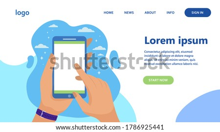 Mobile phone in hand isolated flat vector illustration. Man holding smartphone with blank screen and doing screenshot. Software and technology concept