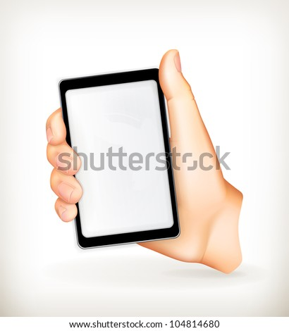 Mobile phone in hand, vector