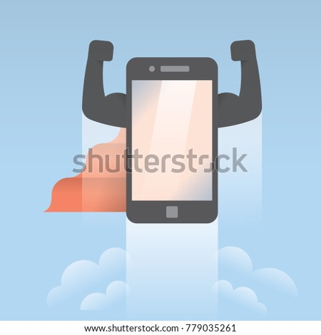 Mobile phone in super hero dress with  red cloak flying in the sky. Abstract unusual concept of new succersful mobile technologies, market competition, new gadgets models, reliability and safety etc.