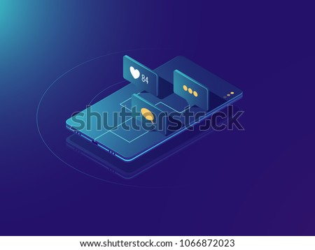 Mobile phone income message notification, social media network concept, comments and like icons, neon isometric vector