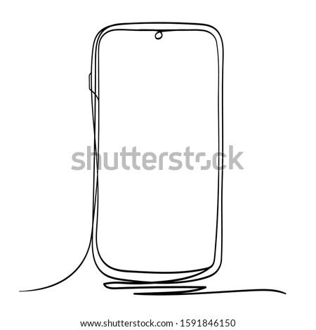 mobile phone line art vector