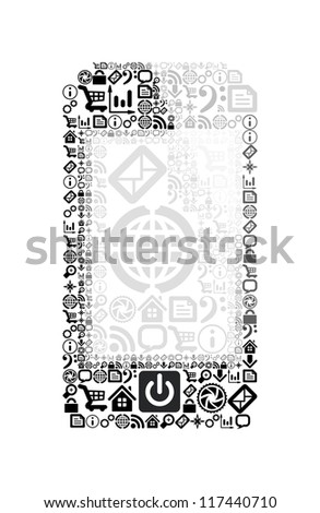 Mobile phone made from application icons. Vector illustration on white background