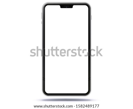 Mobile Phone New and Black Design Concept. Vector Smartphone Mockup With Frameless White Screen. Isolated on Transparent Background.
