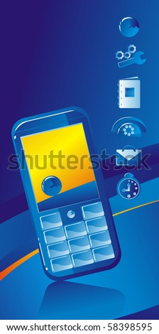 Mobile phone  on a dark blue background and telecommunication icons