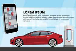Mobile phone on the background of a charging electric car. On the screen is a map with the location of the charging stations. Vector illustration