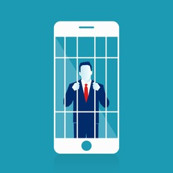 Mobile Phone Prisoner. Addicted to cellphone. Illustration of a unhappy character prisoner from his smart phone mobile, symbolizing danger of being enslaved by new technology. Eps Vector illustration.