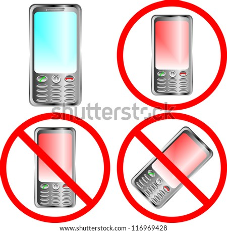 Mobile phone prohibition sign over white background