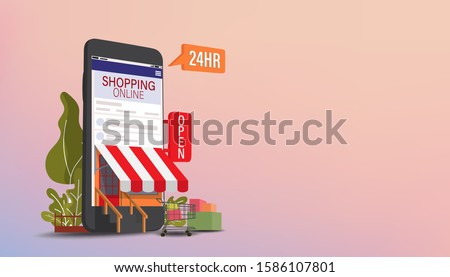 Mobile phone represent of front of shop store.Shopping Online on Website or Mobile Application Vector Concept Marketing and Digital marketing, Long Background