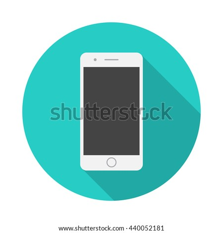 mobile phone round icon with