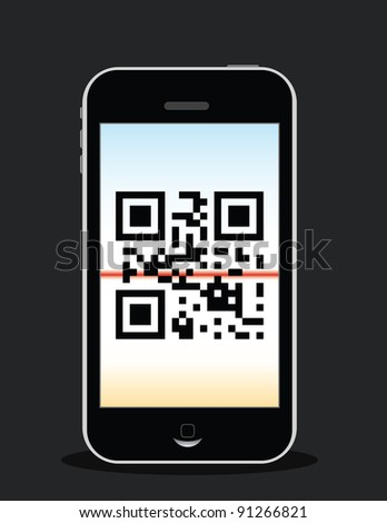 """mobile phone scanning qr code, qr code reads """"love"""""""