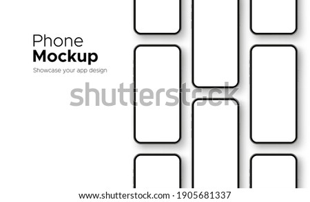 Mobile Phone Screens Mockups for Showing Your App Design, Isolated on White Background. Vector Illustration ストックフォト ©
