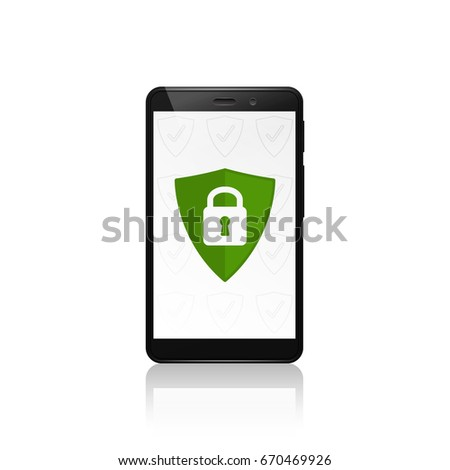 Mobile phone security shield protection. Closed padlock. Vector illustration.