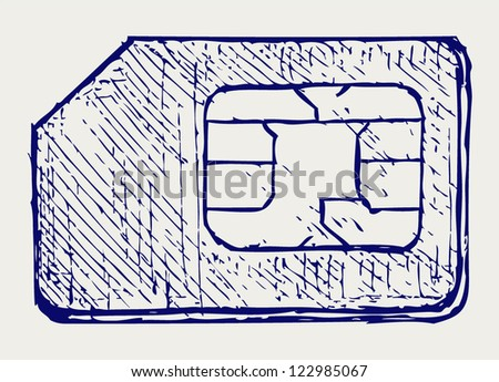 Mobile phone sim. Doodle style