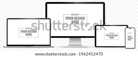 Mobile Phone, Tablet PC, Computer Monitor and Laptop Vector Illustration Set With Transparent Background