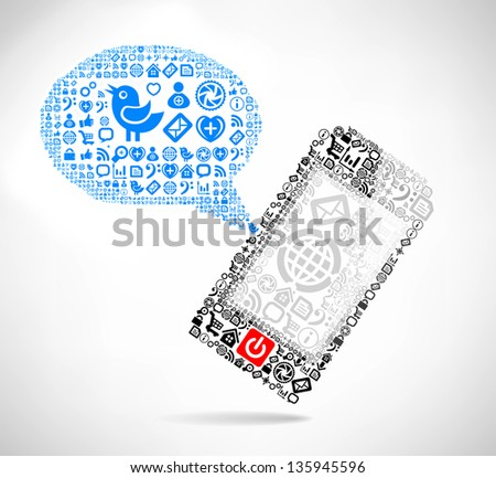 Mobile phone text message balloons made of icons. Vector illustration