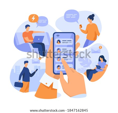 Mobile phone user sharing news online, sending messages to friends, holding cellphone with contact list on screen. Vector illustration for refer a friend, email marketing concept