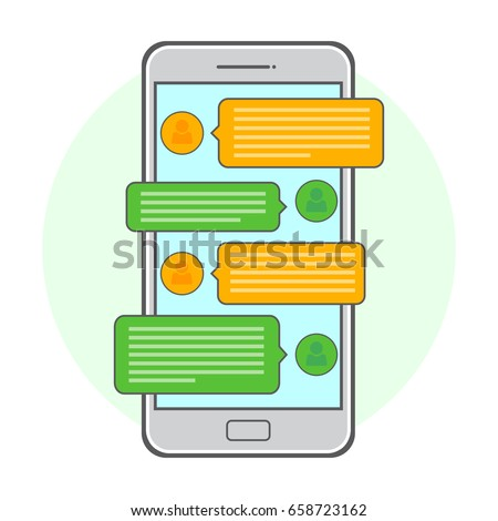Mobile phone. Vector illustration chating and messaging concept. Flat design.