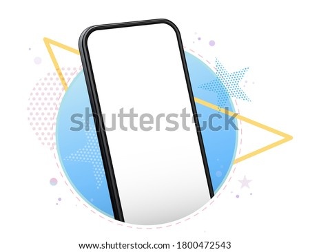 Mobile Phone Vector Mockup With Geometric Abstract Background. Frameless Black Smartphone Perspective View.