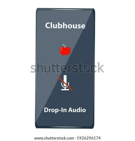 Mobile phone with a picture of a red apple, crossed out microphone - isolated on white background - vector. Audio chat social network application. Club house