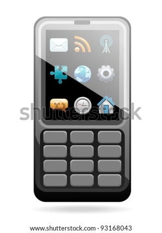 mobile phone with a set of icons on the display