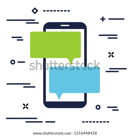 mobile phone with chat message notifications. smartphone and chatting bubble speeches. Text messaging flat design concept.