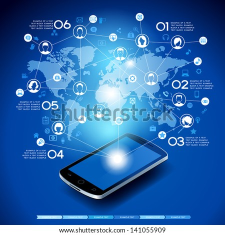 Mobile phone with cloud of application icons, Ã?Â??oncept network. Creative Business infographics and Information technology concept, Vector illustration modern template design.