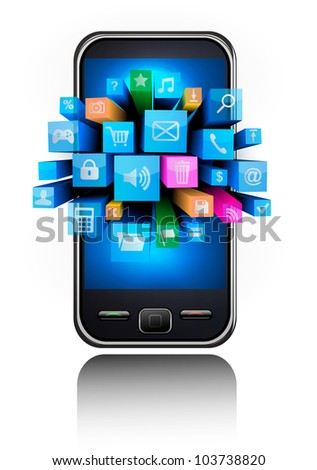 Mobile phone with colorful icons.. Vector.