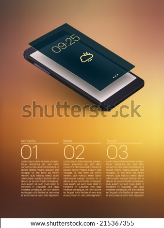 mobile phone with 3d screen - vector illustration