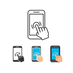 Mobile phone with forefinger touches screen. Hand pointer, Finger touching in smartphone. Smartphone screen with hand. Touch screen icon. Vector illustration. Design on white background. EPS 10