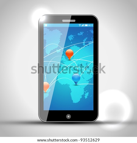 Mobile Phone with GPS navigation - Vector Design - Europe and Africa - stock vector