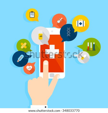 Mobile phone with health application open with hand. Vector modern creative flat design.