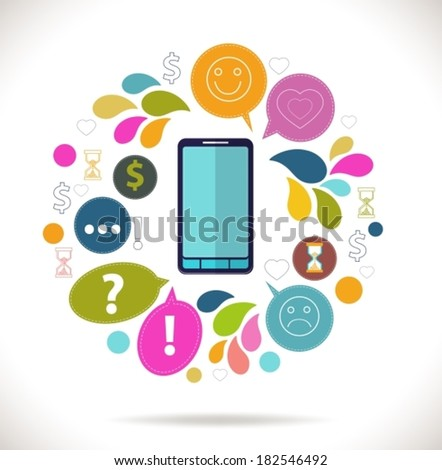 Mobile phone with icons, Colorful Concept of communication, love, time and money in the network,  flat design concept icons, VECTOR