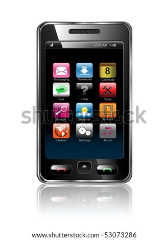 Mobile phone with icons, smartphone realistic vector illustration. Original design.