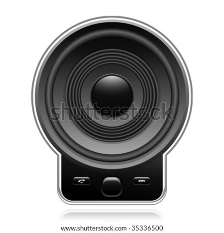 Mobile phone with large speaker - vector