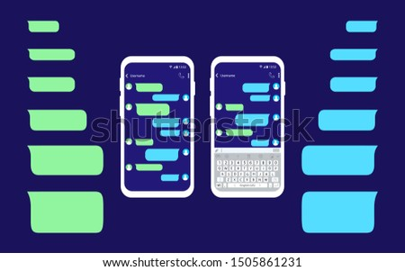 Mobile phone with message. Empty messages bubbles. Interface sms chat.