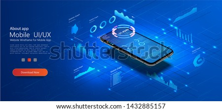 Mobile phone with online statistics and data Analytics.Digital money market, investment, finance and trading. Perfect for web design, banner and presentation. Isometric vector illustration.