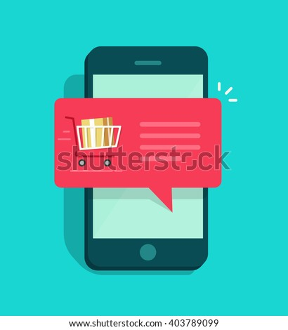 Mobile phone with shopping cart full, red speech bubble vector illustration, online ordering notification concept, ecommerce, order delivery service modern flat icon design isolated on blue background