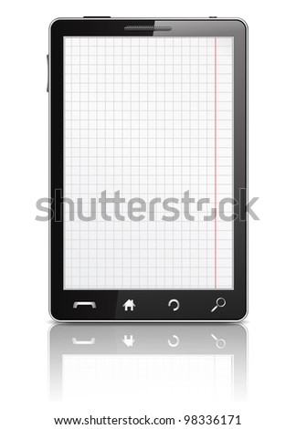 Mobile phone with squared paper sheet on the screen, vector eps10 illustration
