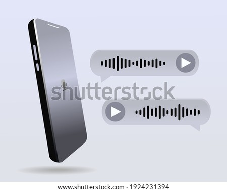 Mobile phone with voice messages bubbles. Chat up. Voice notes. Illustration vector