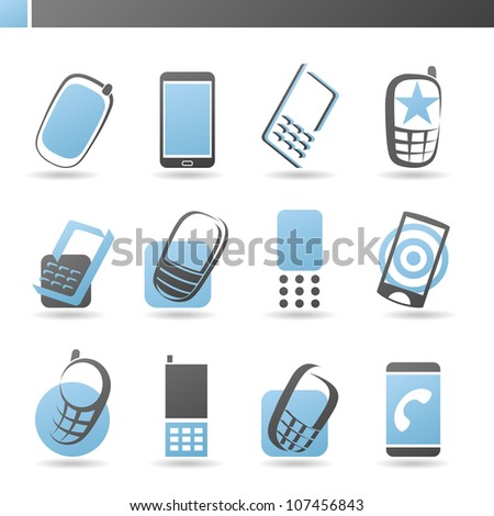 Mobile phones. Collection of design elements.