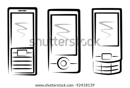 mobile phones collection sketch in simple black lines - stock vector