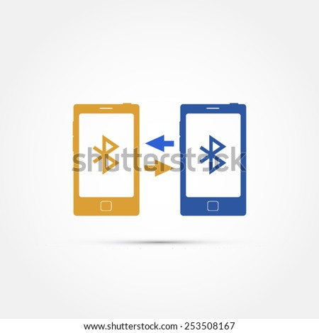 Mobile phones connecting with bluetooth illustration