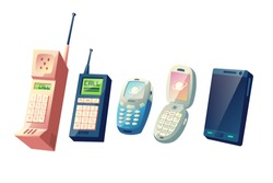 Mobile phones evolution cartoon vector concept. Cellphones generations from vintage models with physical numeric keypads and retractable antennas to modern smart devices with touchscreen illustration