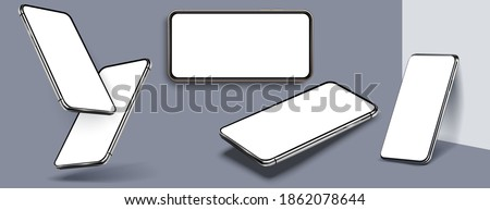 Mobile phones mock up in different angles isolated, 3d perspective view cellular mockup with white empty screen isolated. Device UI, UX mockup for presentation template. Vector illustration