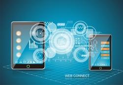 Mobile phones technology business concept. Creative network information process diagram.