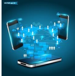 Mobile phones technology business concept, Creative network information process diagram, Vector illustration modern template design