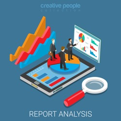 Mobile report analysis tool app flat 3d isometry isometric business concept web vector illustration. Businessmen standing on pie graphic tablet. Creative people collection.