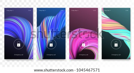 Mobile screen lock display with abstract modern wallpaper background. Vector smartphone screenlock template or lockscreen passcode access authentication with dark theme